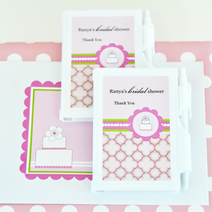Personalized Notebook Favors - Pink Cake  wedding favors