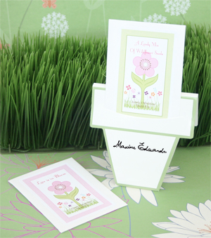 """Flowers in Bloom"" Seed Packets with Flower Pot Card wedding favors"
