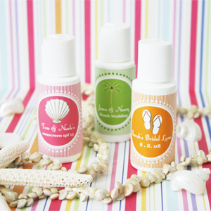 """Hot Wedding"" Theme Sunscreen wedding favors"