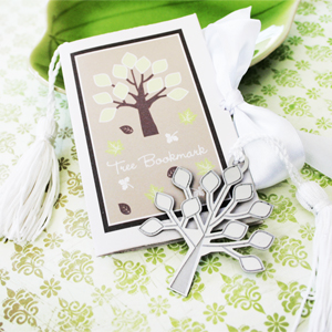 """A New Beginning"" Tree Bookmark wedding favors"