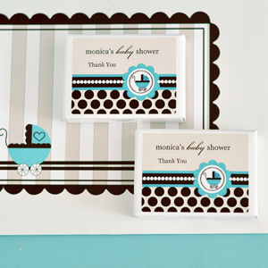 Personalized Gum Boxes - Blue Baby  wedding favors