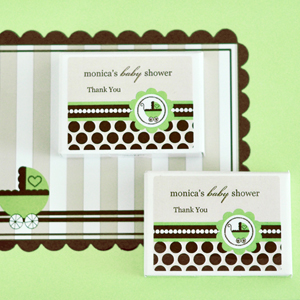 Personalized Gum Boxes - Green Baby  wedding favors