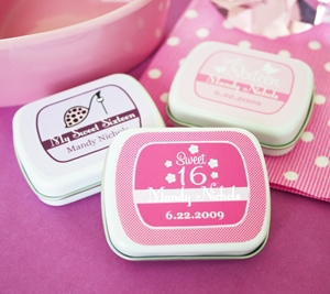 Sweet 15/16 Personalized Mint Tins wedding favors