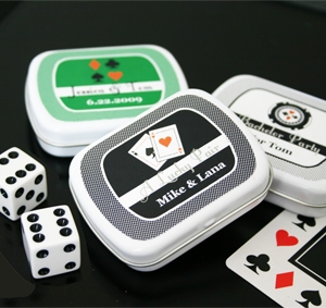 """A Lucky Pair"" Vegas Themed Mint Tins wedding favors"