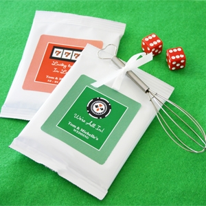 """A Lucky Pair"" Vegas Themed Hot Cocoa wedding favors"