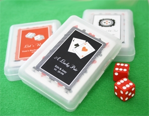 """A Lucky Pair"" Vegas Themed Playing Cards wedding favors"