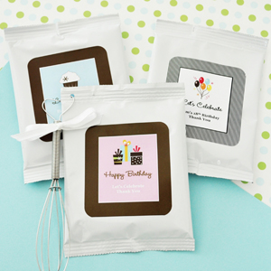 Personalized Birthday Cappuccino Mix + Optional Heart Whisk  wedding favors