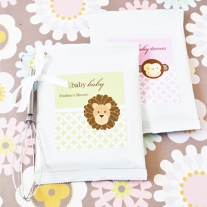 Baby Animals Personalized Cappuccino Mix + Optional Heart Whisk  wedding favors