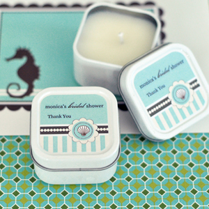 Personalized Square Candle Tins - Beach Party wedding favors