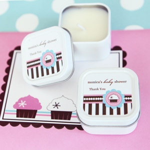 Personalized Square Candle Tins - Cupcake Party wedding favors