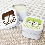 Mod Monogram Personalized Square Candle Tins  wedding favors