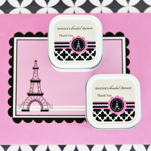 Personalized Square Candle Tins - Parisian Party  wedding favors