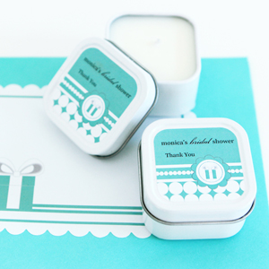 Personalized Square Candle Tins - Something Blue  wedding favors