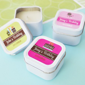 Personalized Birthday Square Candle Tins  wedding favors