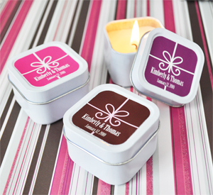 Square Gift Box Personalized Square Candle Tins wedding favors