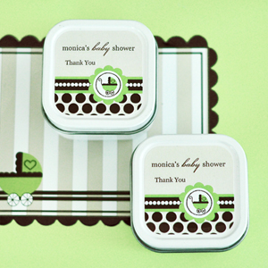 Personalized Square Candle Tins - Green Baby  wedding favors