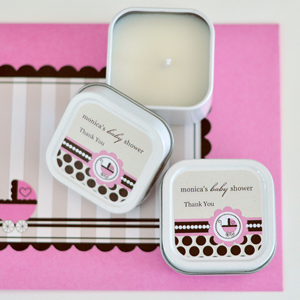 Personalized Square Candle Tins - Pink Baby wedding favors