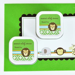 Personalized Square Candle Tins - Jungle Safari  wedding favors