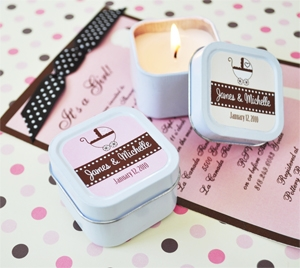Personalized Square Baby Shower Candle Tins wedding favors