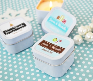 """A Winter Holiday"" Personalized Square Candle Tins wedding favors"