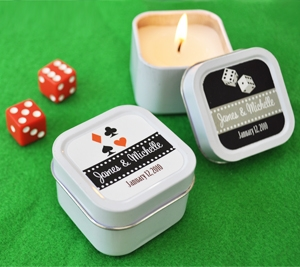 A Lucky Pair Personalized Vegas Square Candle Tins wedding favors