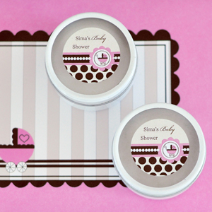 Personalized Round Candle Tins - Pink Baby wedding favors