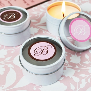 Monogram Round Travel Candle Tins wedding favors