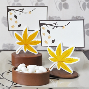 Leaf Place Card Favor Boxes with Designer Place Cards wedding favors