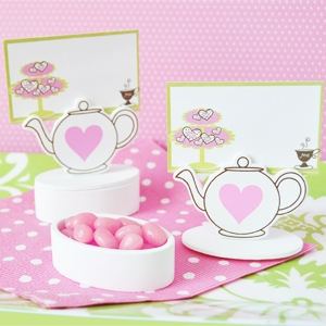 Teapot Place Card Favor Boxes with Designer Place Cards wedding favors
