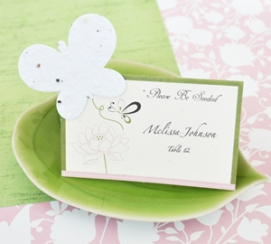 """Please Be Seeded"" Butterfly Plantable Seed Place Cards wedding favors"