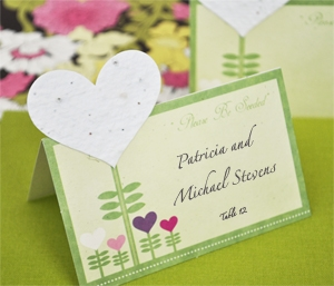 """Please Be Seeded"" Heart Plantable Seed Place Cards wedding favors"