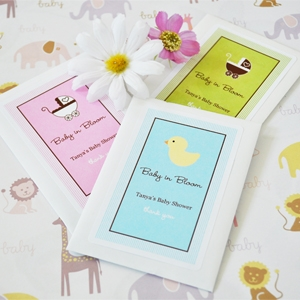 """Baby in Bloom"" Personalized Shower Seed Packets wedding favors"