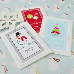 """A Winter Holiday"" Personalized Seed Packets wedding favors"