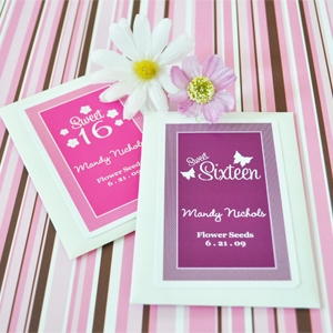 Sweet Sixteen (or 15) Personalized Seed Packets wedding favors