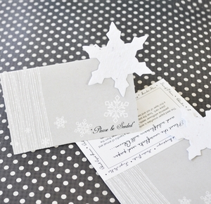 """Please Be Seeded"" Snowflake Plantable Seed Place Cards wedding favors"