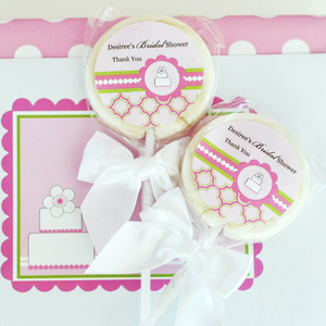 Personalized Lollipop Favors - Pink Cake  wedding favors