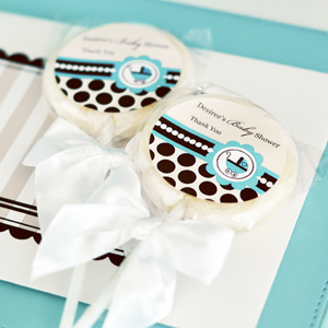 Personalized Lollipop Favors - Blue Baby  wedding favors