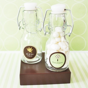 """Fall for Love"" Personalized Mini Glass Bottles  wedding favors"