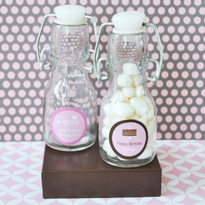 Sweet Sixteen (or 15) Personalized Mini Glass Bottles  wedding favors