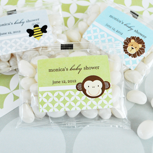 Baby Animal Personalized Jelly Bean Packs  wedding favors