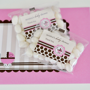 Personalized Jelly Bean Packs - Pink Baby  wedding favors