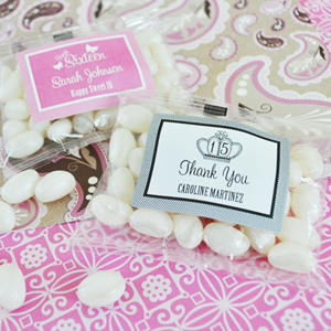 Sweet Sixteen (or 15) Personalized Jelly Bean Packs  wedding favors