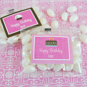 Personalized Birthday Jelly Bean Packs  wedding favors