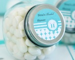 Personalized Candy Jars - Blue Baby  wedding favors