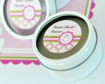 Personalized Round Candle Tins - Pink Cake  wedding favors