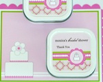 Personalized Square Candle Tins - Pink Cake  wedding favors