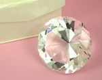 Diamond Shaped Crystal Paperweight - Large wedding favors