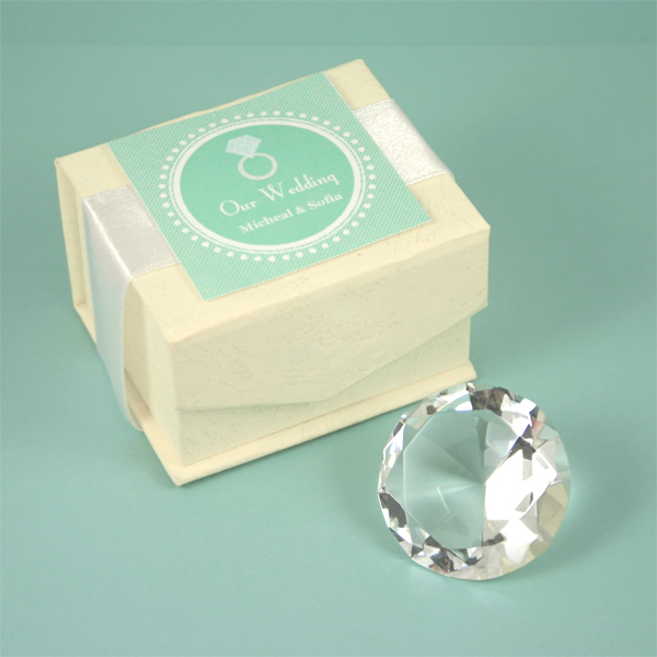 Diamond Shaped Crystal Paperweight - Small wedding favors