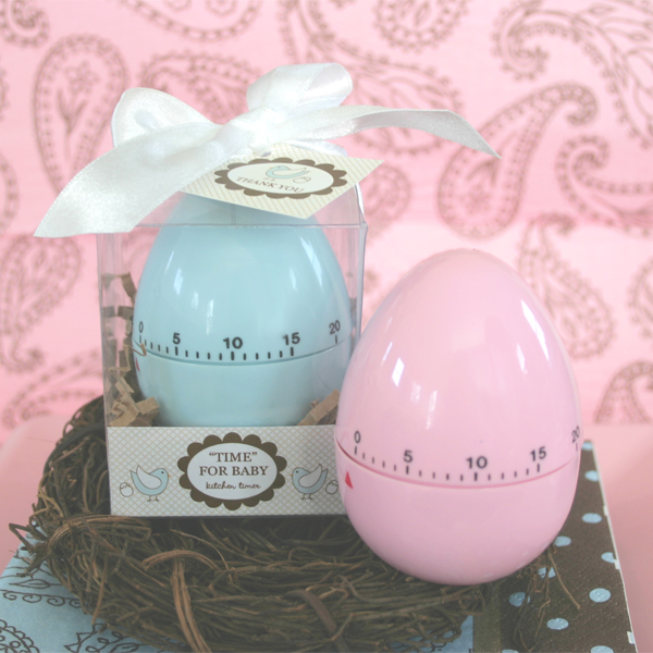 """Time for Baby"" Egg Timer wedding favors"