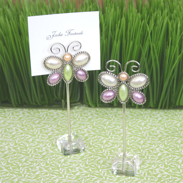 """Love is Aflutter"" Butterfly Place Card Holders wedding favors"